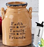 Gift Included- Decorative Farmhouse Country Kitchen Primitive Utensil Crock or Flower Vase Faith Family Friends+ FREE Bonus Water Bottle by Homecricket