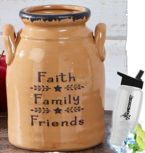 Gift Included- Decorative Farmhouse Country Kitchen Primitive Utensil Crock or Flower Vase Faith Family Friends+ FREE Bonus Water Bottle by Homecricket by HomeCricket