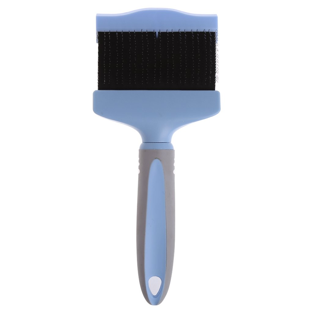Doober Dog Puppy Cat Pet Hair Shedding Grooming Trimmer Comb Brush Slicker Rake Tool (L, Blue)