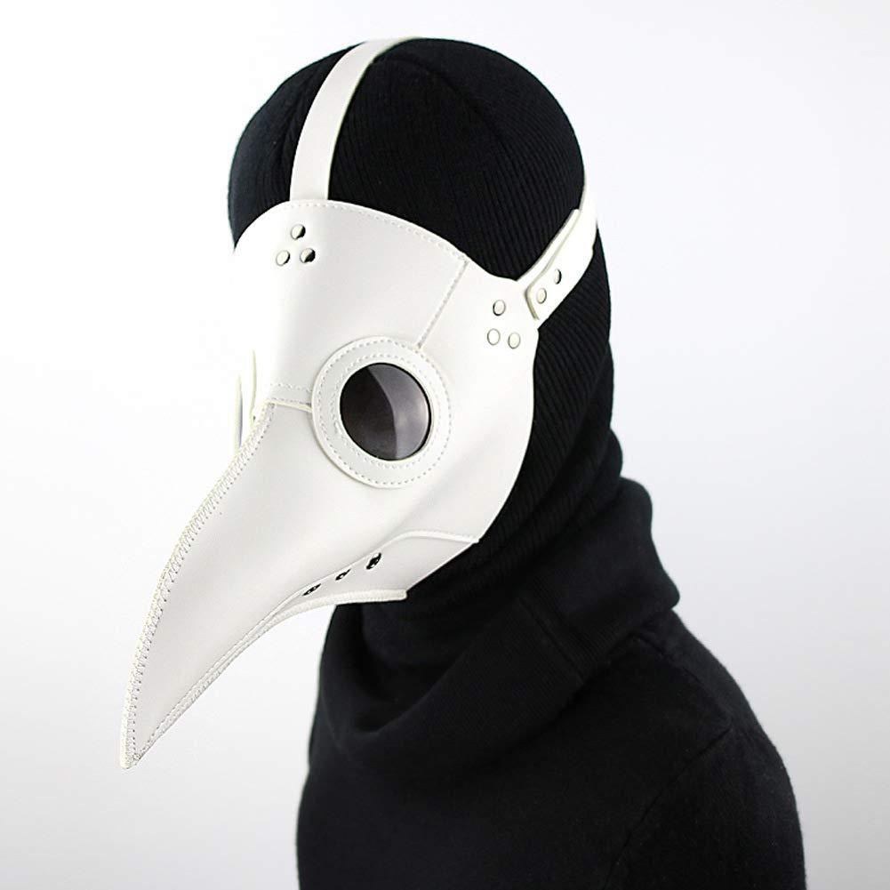 Lungo Naso A Becco di Cosplay Steampunk Puntelli Costume di Halloween,Bianca Medico della Peste Uccello Maschera