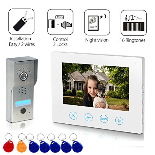 Metecsmart Video Doorbell Intercom with ID Card [2- wires] 7inch Monitor Video Door Phone Kit unlock function 1-Metal camera 1-monitor Night Vision Touch Button Screen - No Wi-Fi & APP (white) (2 Wire Door Phone)