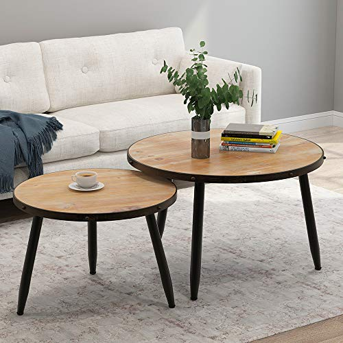 - Tribesigns Industrial Nesting Coffee Table Set of 2, Round End Side Table for Living Room Balcony Home and Office, Solid Wood & Metal Tube