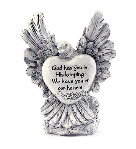 Napco Bird Sympathy Heart Classic White 8 inch Resin Stone Collectible Figurine