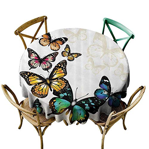 Washable Round Tablecloth Butterfly Decor Monarch Butterflies Shades and Shadows Ombre Background Table Cover for Home Restaurant 47 INCH Blue Pink Green and Yellow