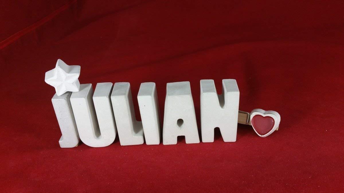 Beton, Steinguss Buchstaben 3D Deko Namen JULIAN mit Stern und Herzklammer als Geschenk verpackt! Ein ausgefallenes Geschenk zur Geburt, Taufe, Geburtstag, Namenstag oder auch zu Weihnachten!