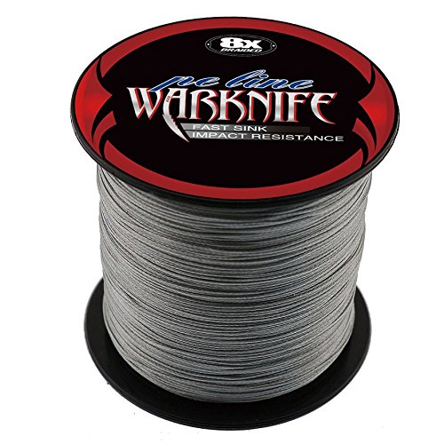 (Warknife 8 Stands Super Strong Braided Fishing Line Tensile Strength 100Meters/109.4Yards 130LB Gray)