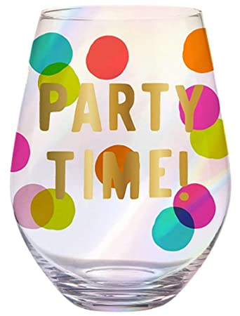 Amazoncom Party Time Jumbo 30 Ozcolorful Polka Dot Wine Glass W