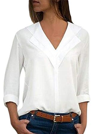 YOGLY Chemisier Femme Sexy Manches Longues en Mousseline de Soie Col V  Couleur Unie Shirt Casual eee9cf121553