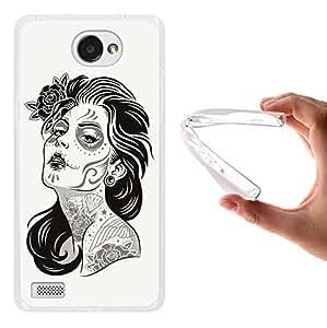 Funda LG X150 Bello 2, WoowCase [ LG X150 Bello 2 ] Funda Silicona Gel Flexible Mujer Dia De Los Muertos, Carcasa Case TPU Silicona - Transparente