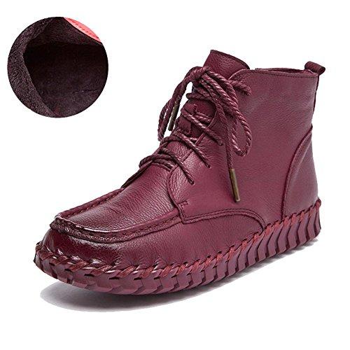 Thicker Boots Suole Donne Pigra Scarpe Caviglia Felpa Caldo Morbido Byjia Mano Stivali wine Pelle Incinta Piatto A red Fatto Laccio 1nzdqnp8Aw