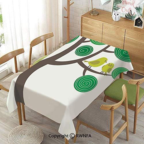Homenon Decorative Rectangular Table Cloth,Colorful Yellow Birds on Green and Brown Tree Wildlife Park Cartoon Fun Art Print Decorative,Waterproof Stain-Resistant,55
