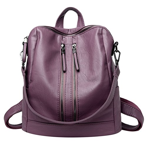 Xinwcang Mochila de Cuero de Hombro Bolsa de Mano de Moda para Mujer PU Impermeable Mochilas Tipo Bolso de Viaje Púrpura