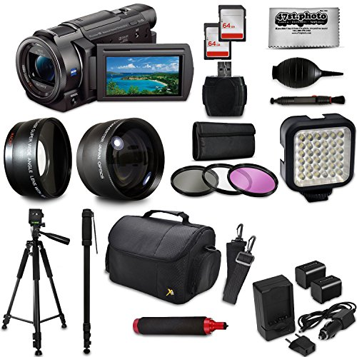 """Sony FDR-AX53 4K Ultra HD Handycam Camcorder Video Camera + 60"""" Tripod + 67"""" Monopod + SD Card + Filter + Bag + Extra Memory Card + LED Light + Cleaning Set + 20 Piece Accessory Kit -  47th Street Photo, SNAX53K6"""