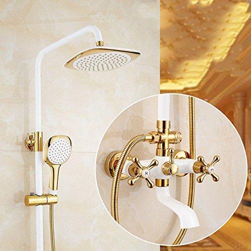 A S.Twl.E Shower Head Kit Bathroom Handheld Water Saving Shower Faucet Faucet Antique gold Shower Kit Full Copper Shower Faucet gold Plated Mixed Water Valvea