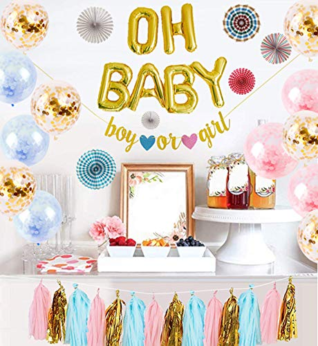 Logui Gender Neutral Baby Shower Decorations For Girl or Boy W/Latex Balloons, Oh Baby Foil Gold Balloons, Paper Fans, Blue, Pink, Gold Tassel Banner. Gender Reveal Decorations, Baby Announcement Set -
