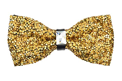 Crystal Glitter Bow tie Luxurious Wedding Party Rhinestone Adjustable Bowtie (gold)