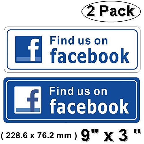 Outdoor Indoor  2 Pack  9  X 3  Find Us On Facebook Sign Blue   White Sticker Decal   For Business Store  Shop  Cafe  Office  Restaurant  Car Vehicle   Back Self Adhesive Vinyl