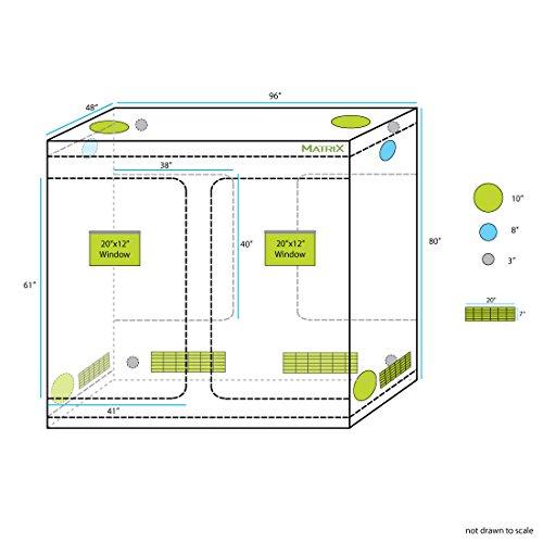 "51lN49IQZzL - Matrix Horticulture 96""x48""x80"" Grow Tent Diamond Mylar 600D Hydroponic Growing Room Box for Indoor Plants Observation Window Arch Door D Design 8x4 4x8"