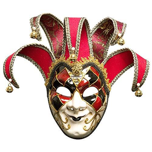 Vetasac Men's Venetian Masquerade Masks Halloween Mardi Gras Party Carnivals Mask XP010 (Red) -