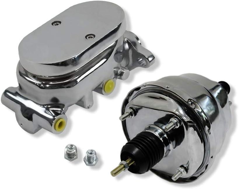 DEMOTOR PERFORMANCE 7 Dual Diaphragm chrome Brake Booster Hot Rod Street and GM Chrome Aluminum Brake Master Cylinder /& Chrome Proportioning Valve