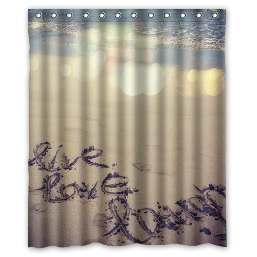 Amazon.com: Inspirational Quote Beach Live Laugh Love Shower Curtain ...