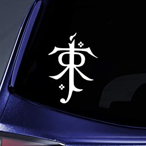 "Bargain Max Decals - LOTR Tolkien Monogram Sticker Decal Notebook Car Laptop 5"" (White)"