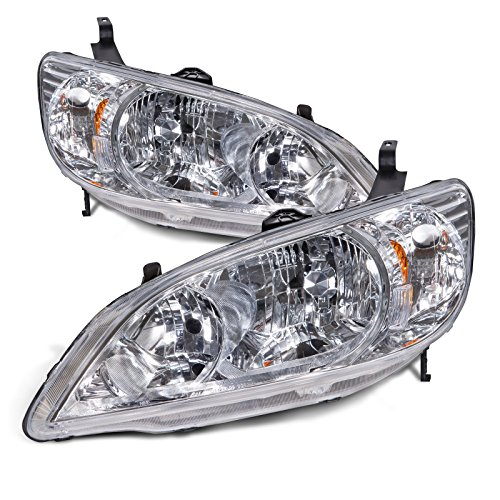 Coupe Honda 2004 (Headlights Depot Replacement for Honda Civic 2-Door Coupe Headlights Headlamps Pair New Set)