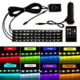 8 Color LED Interior Car Lights, Hoyoki Under Dash Lighting Kit, 4pcs LED Strip Lights for Cars with Wireless Remote Control, Car Charger and Sound Active Function
