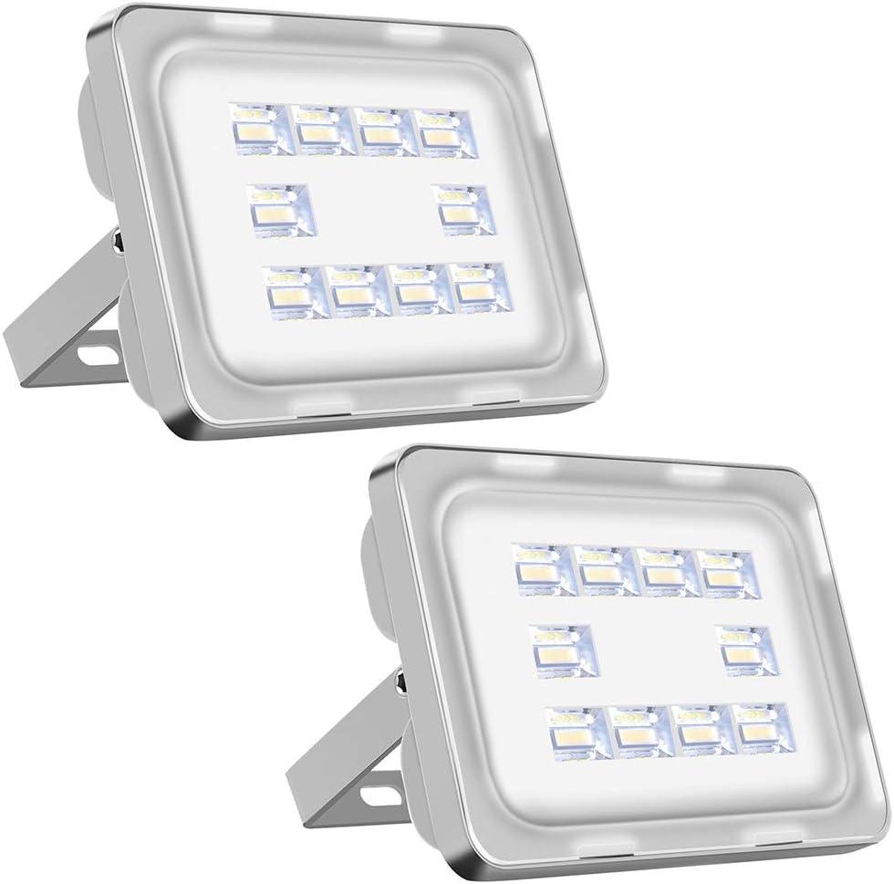 Viugreum 2 Pack 30W Focos Led IP66 Impermeable 3600LM LED Floodlight con Reflectores,Foco proyector LED Iluminación Exterior para Jardin Calzada Terraza Patio 6500K (Blanco frio): Amazon.es: Iluminación