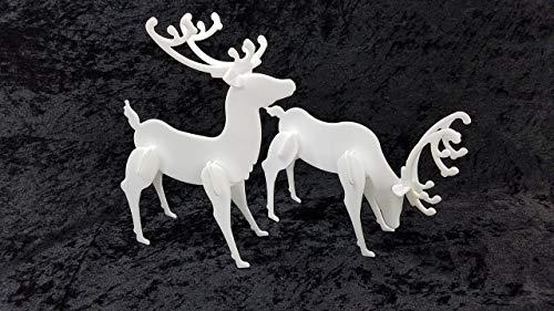 Decorative Acrylic Deer Standing - 2 Pack Christmas Reindeer Display - Tabletop - Designed after Popular Yard Deer - White or Black