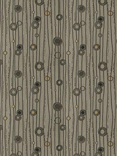 Graphite Black Beige Stripes Contemporary Modern Dots Circles Wovens Upholstery decorative Upholstery Fabric by the yard