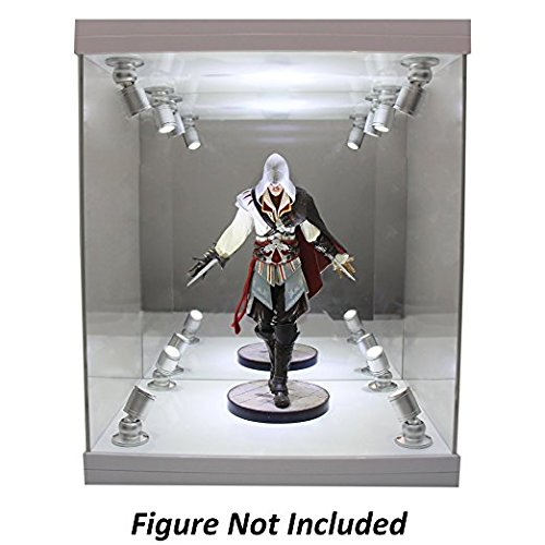 ELITE E-02 GLOSS WHITE 8 LED LIGHTED FIGURE STATUE DOLL DISPLAY CASE FOR MOST FIGURES UP TO 11'' INCHES TALL by Elite Figure Cases (Image #3)