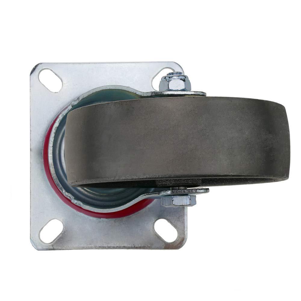 PrimeMatik Rueda pivotante industrial de metal sin freno 100 mm