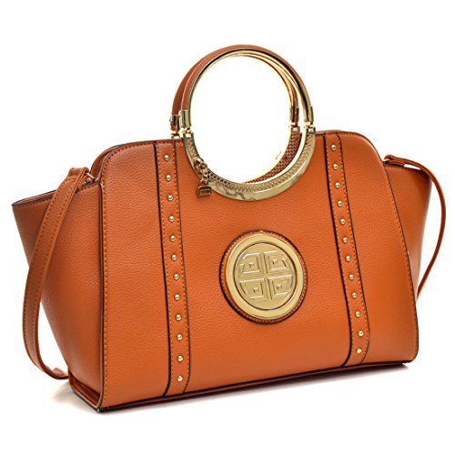 Dasein Women's Studded Top Ring Handle Wing Tote Satchel Bag Purse with Shoulder Strap 3186 Orange