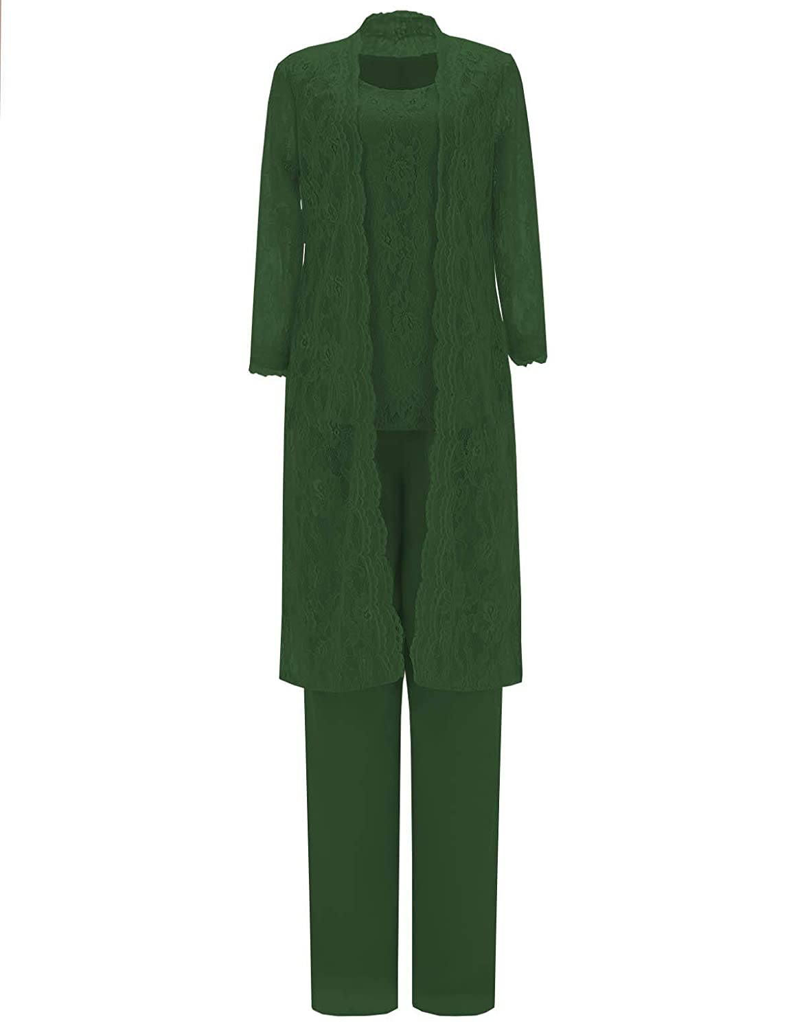 Hunter Green Springplus Women's 3 Pieces Mother of Bride Dress Pant Suits Outfit Lace Jacket