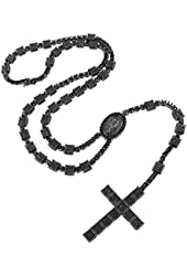 Rosary Cross Pendant Jesus Charm Cube Round Link Black Lab Diamonds Necklace Men