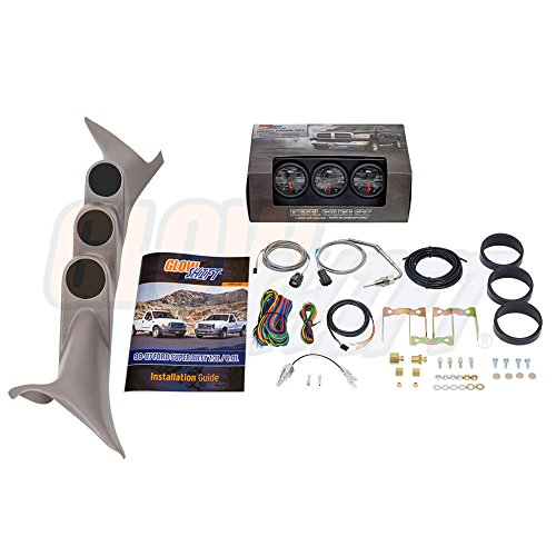 GlowShift Diesel Gauge Package for 1999-2007 Ford Super Duty F-250 F-350 6.0L 7.3L Power Stroke - Black 7 Color 60 PSI Boost, 1500 F Pyrometer EGT & Transmission Temp Gauges - Tan Triple Pillar Pod (F350 Duty Pickup 04)