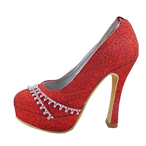 Kevin Fashion gymz642señoras satén de tacón y punta redonda Ankle-Strap brillante novia boda zapatos Red