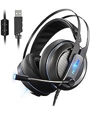 Casque Gaming Casque Gamer Son Surround Virtuel 7.1 Casque PC USB PS4 Casque Micro Casque Casque de Jeu Mpow EG4, Microphone Réglable et Contrôle du Volume, 18 Mois Garantie
