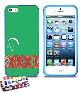 Carcasa Flexible Ultra-Slim APPLE IPHONE 5 de exclusivo motivo [Turkmenistan Bandera] [Azul] de MUZZANO  + ESTILETE y PAÑO MUZZANO REGALADOS - La Protección Antigolpes ULTIMA, ELEGANTE Y DURADERA para su APPLE IPHONE 5