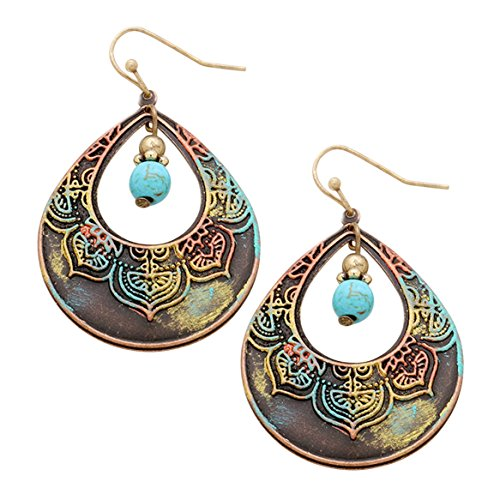 Rosemarie Collections Women's Antique Metal and Turquoise Teardrop Hoop Earring