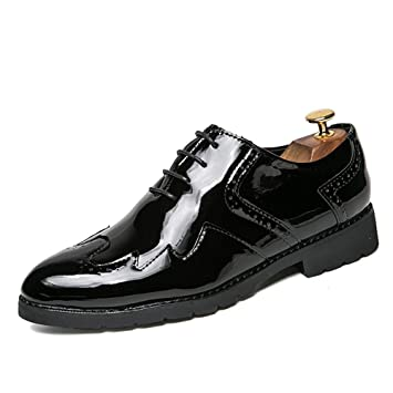 New Fashion Mens Oxford brogue patent leather dress formal casual business shoes