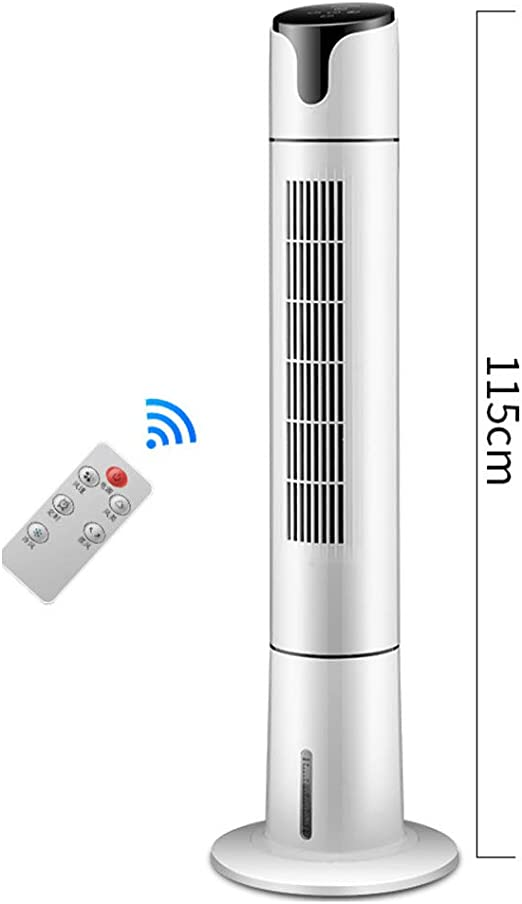 Remote Control Refrigeración por Agua Ventilador De Torre, Inicio Ultra-silencioso Ventilador Sin Aspas, Portátil Aire Acondicionado Ventilador Enfriador De Aire Humidificador-Blanco 115x34cm(45x13): Amazon.es: Hogar