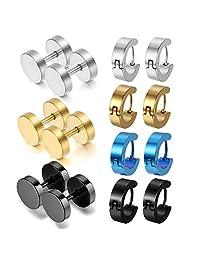 Oidea 14pcs Wholesale Assorted Style,Color Stainless Steel Piercing Hingied Hoop Earrings,Stud Earrings,Hypoallergenic