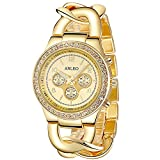 ANLEOWATCH 1PCS Chronograph Quartz Women Dress Watches Ladies Clock Diamante Watch Gold