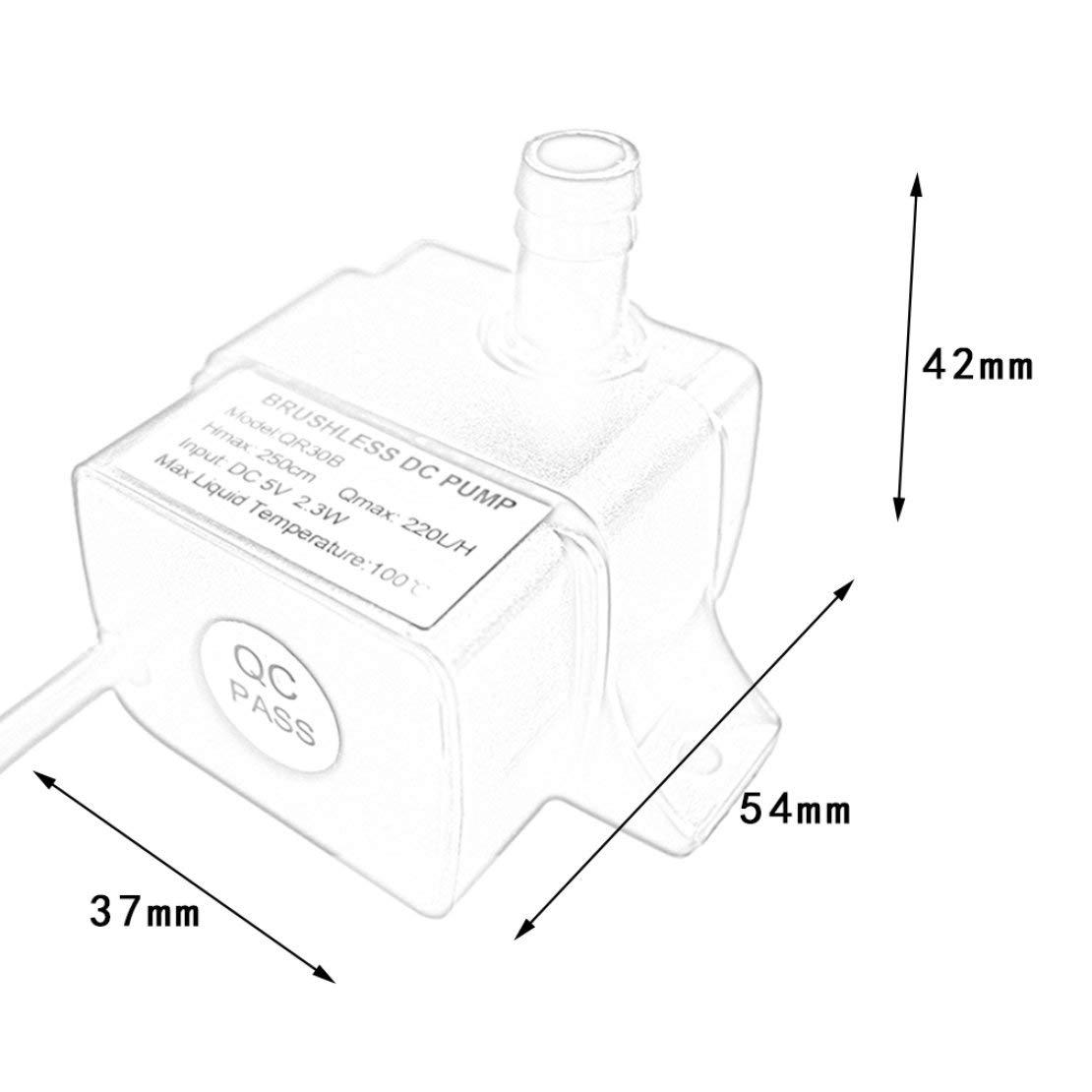 H Sanzhileg Pompa di Acqua Senza Spazzola Professionale di Raffreddamento della CPU del CPU IP68 di Tasso Basso di induzione a Basso Rumore QR30B di CC 5V 2.3W 220L