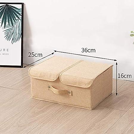 XZHH Caja de Almacenamiento algodón Grueso, Plegable, Doble Cubierta, Caja de Almacenamiento para Ropa, Beige, 36x25/16h: Amazon.es: Hogar