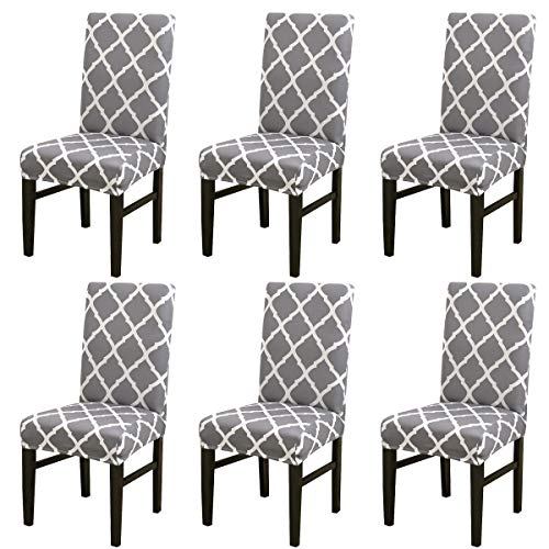 MIFXIN Chair Cover Set High Back Chair Protective Cover Slipcover Universal Stretch Elastic Chair Protector Seat Covers for Dining Room Wedding Banquet Party Decoration (Gray+White, 6 Pcs) ()