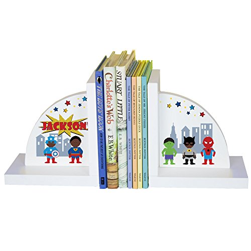 Personalized Bookends (Boy's Personalized Superhero Bookends)