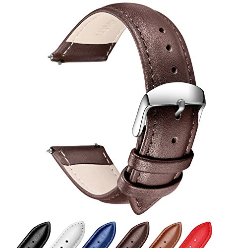 Mens Personalized Metal Watch (Quick Release Leather Watch Band, SONGDU Full Grain Genuine Leather Replacement Watch Strap with Stainless Metal Buckle Clasp 16mm, 18mm, 20mm, 22mm, 24mm (20mm, Brown))
